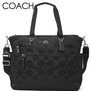 Coach Black Nylon Signature C Diaper Bag 77577
